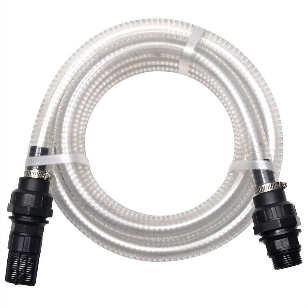 Tuyau d'aspiration avec connecteurs 10 m 22 mm Blanc