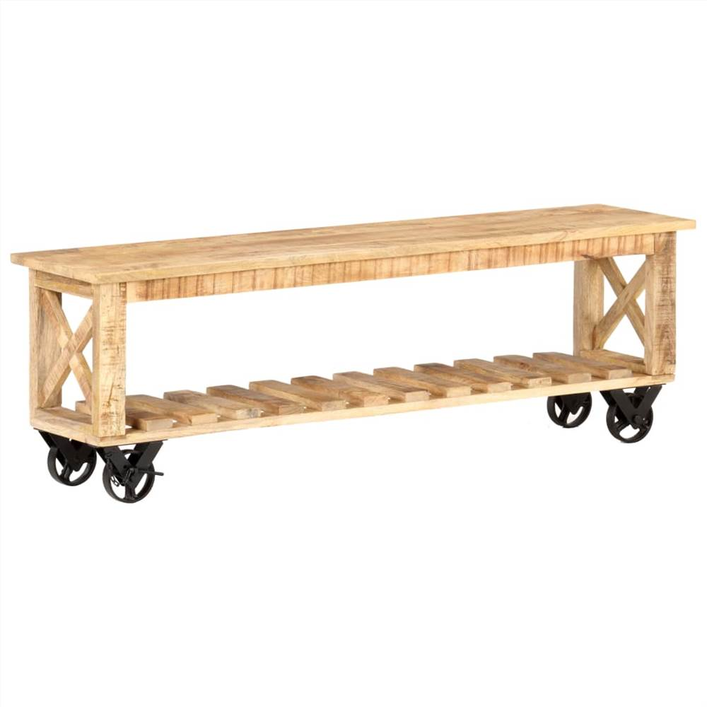 TV Cabinet 130x30x42 cm Rough Mango Wood