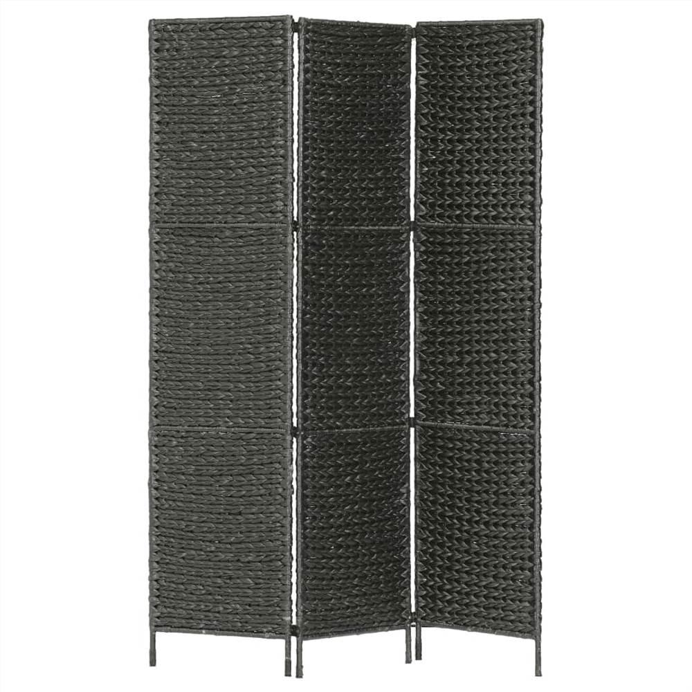 Séparateur de pièce à 3 panneaux Noir 116x160 cm Jacinthe d'eau