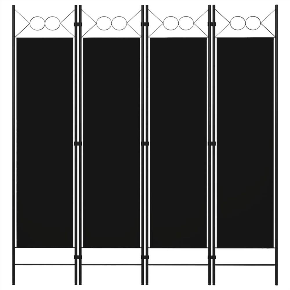 Séparateur de pièce à 4 panneaux noir 160x180 cm