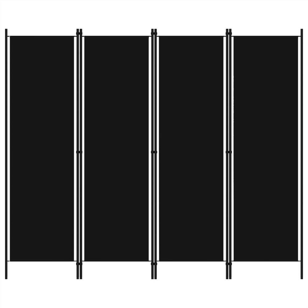 Séparateur de pièce à 4 panneaux noir 200x180 cm