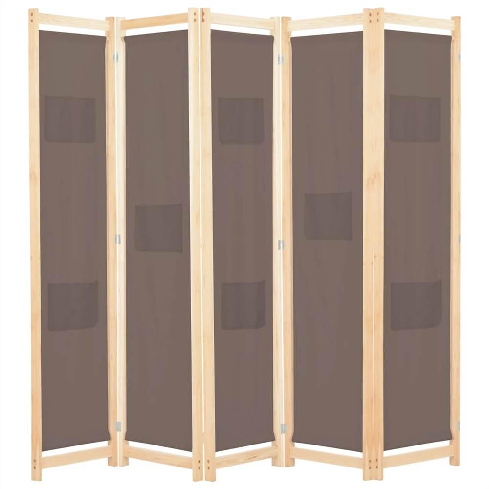 5-Panel Raumteiler Braun 200x170x4 cm Stoff