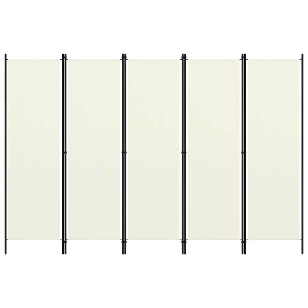Séparateur de pièce à 5 panneaux blanc crème 250x180 cm