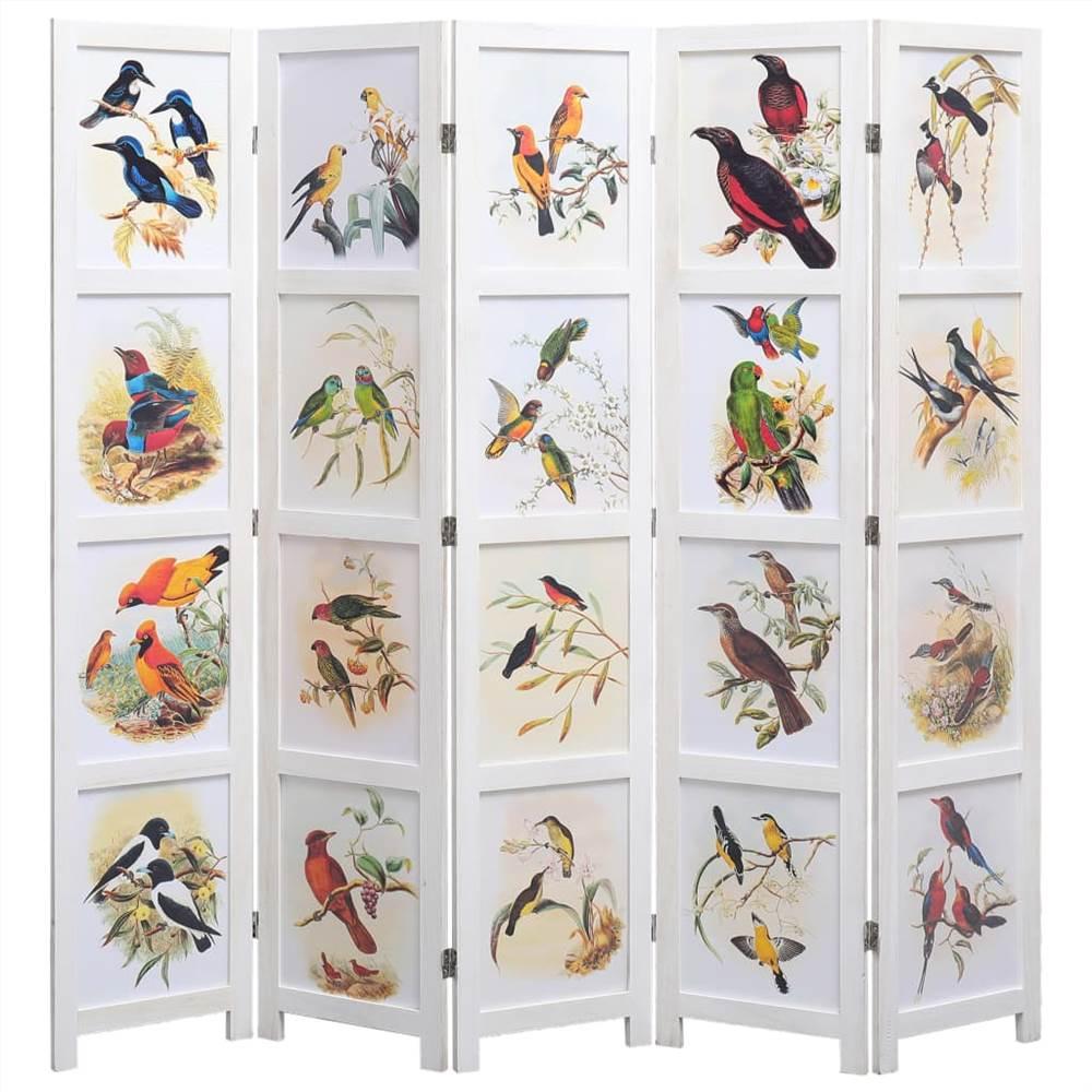 Séparateur de pièce à 5 panneaux Blanc 175x165 cm Bird