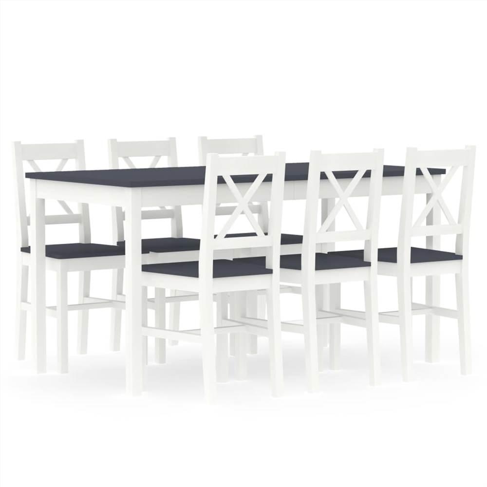 Ensemble de salle à manger 7 pièces pin blanc et gris