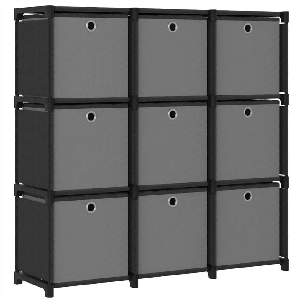 Présentoir 9 cubes avec boîtes en tissu noir 103x30x107.5 cm