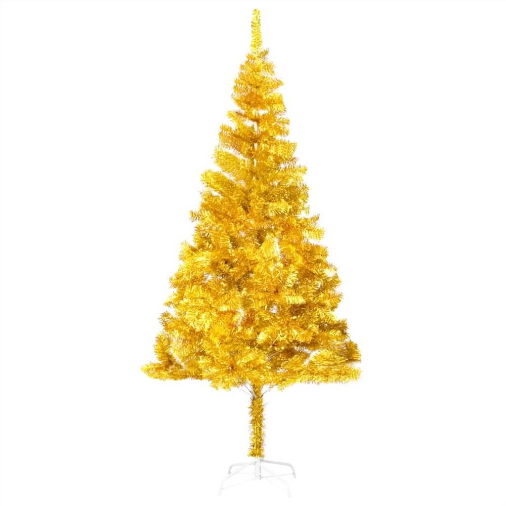 Sapin de Noël artificiel avec support or 180 cm PET
