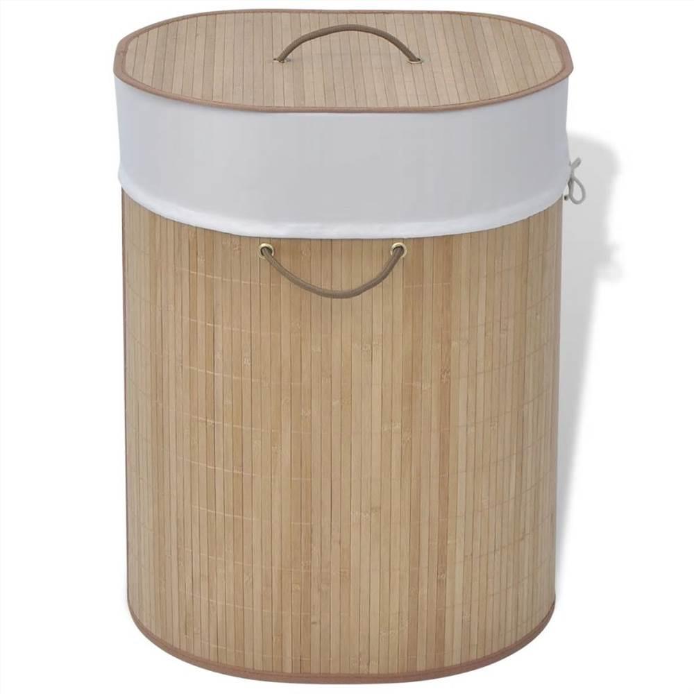 Bamboo Laundry Bin Oval Natural
