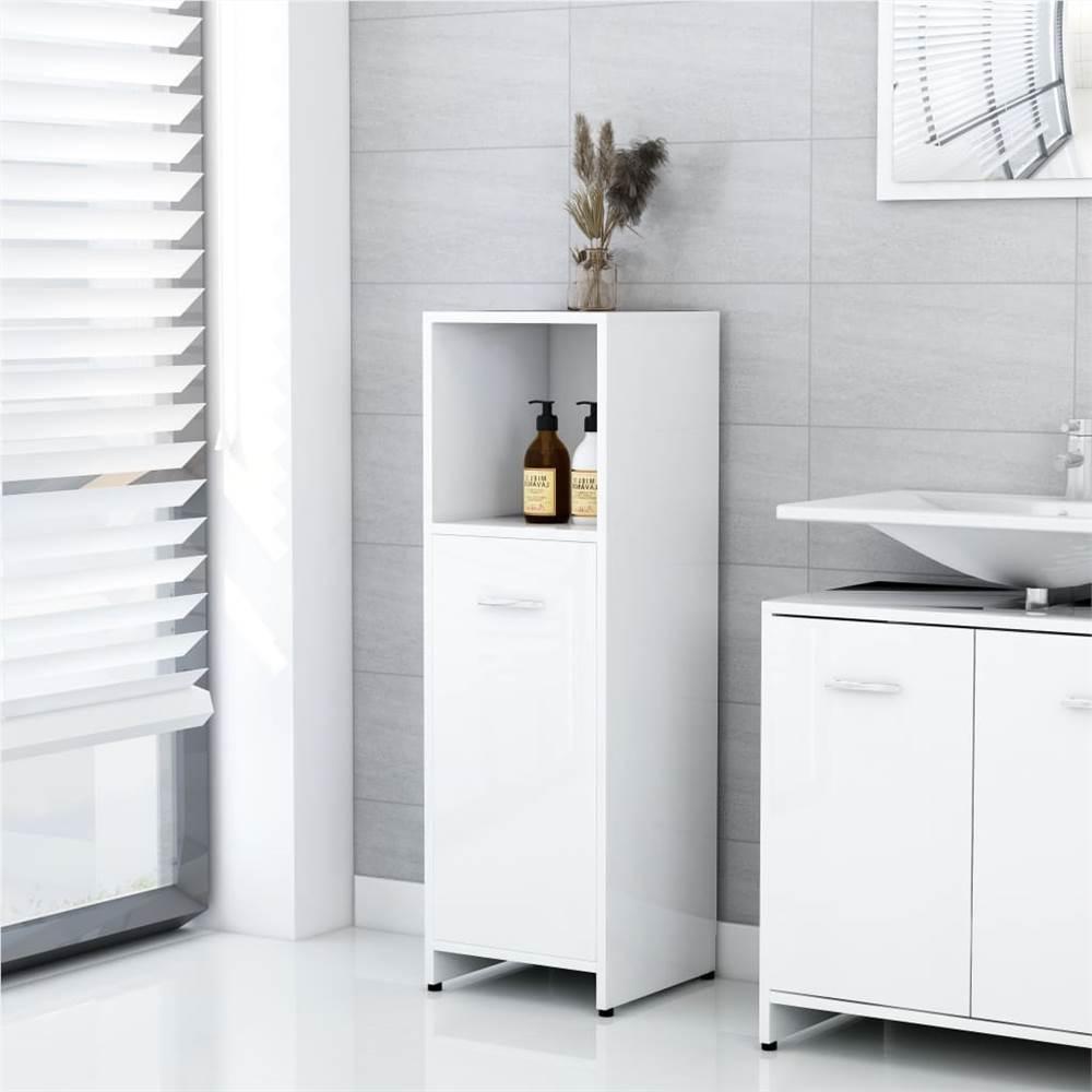 Meuble de salle de bain blanc brillant 30x30x95 cm aggloméré