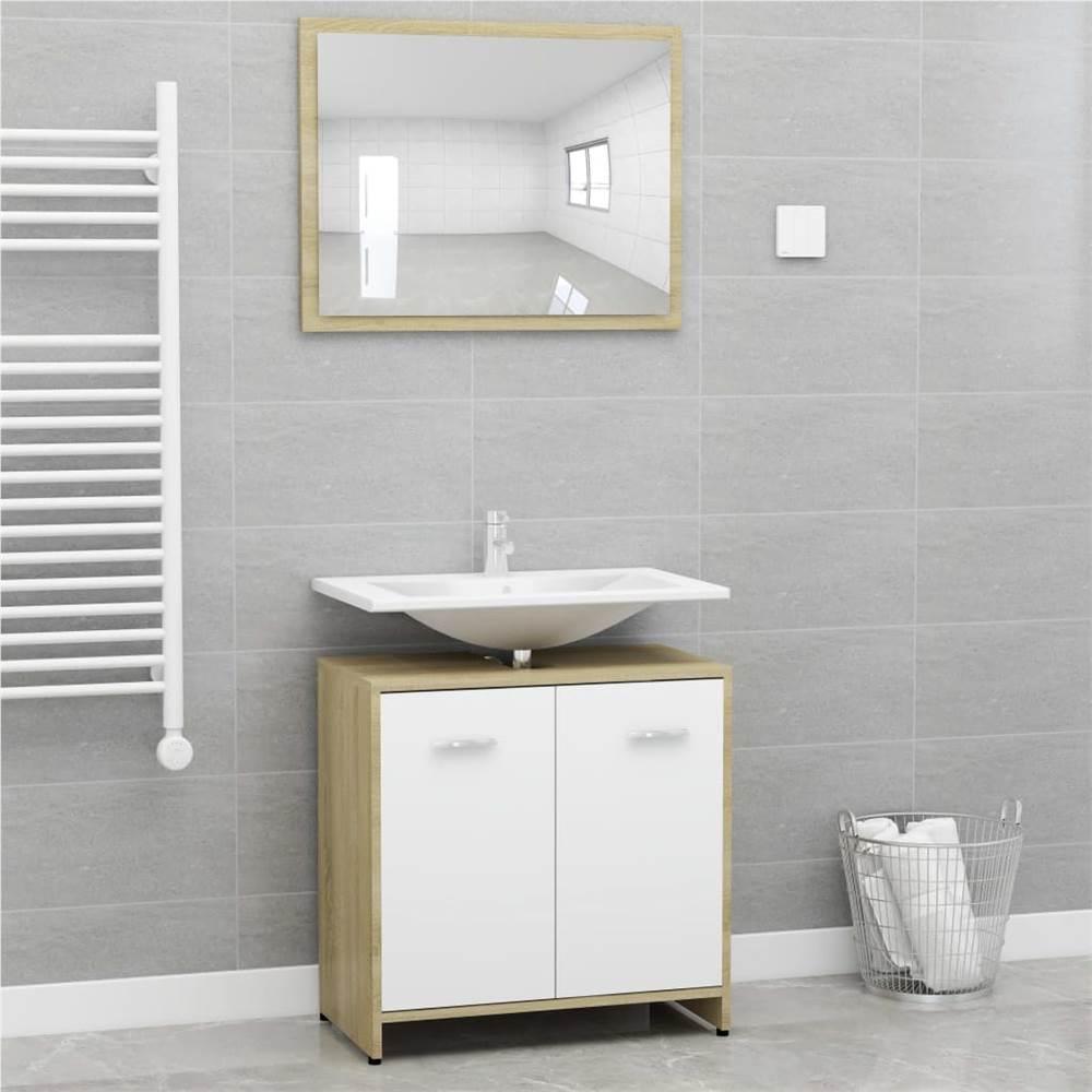 Ensemble de meubles de salle de bain en aggloméré de chêne blanc et Sonoma
