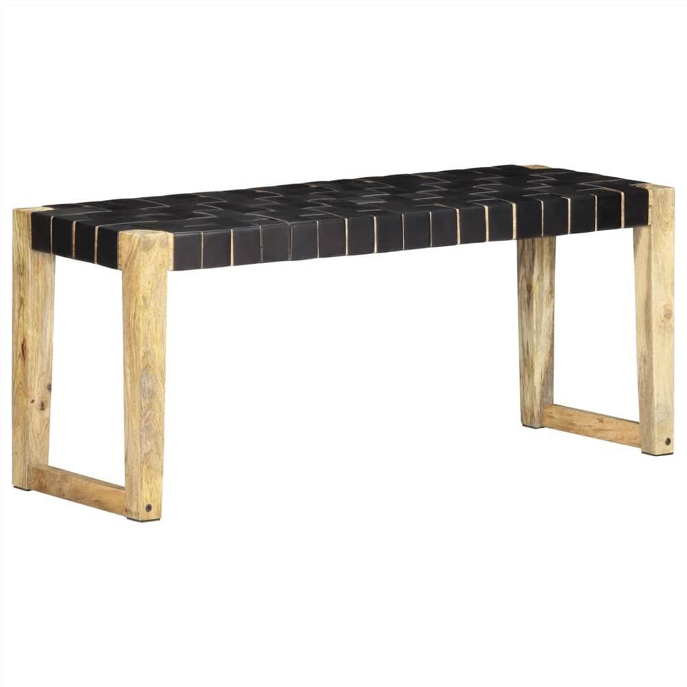 Banc 110 cm en cuir véritable noir et bois de manguier massif