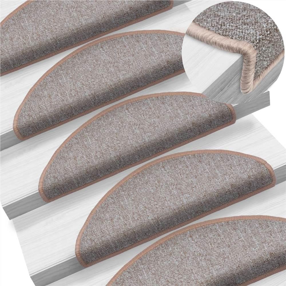 Tapetes de escada para alcatifa 15 unidades castanho claro 65x24x4 cm