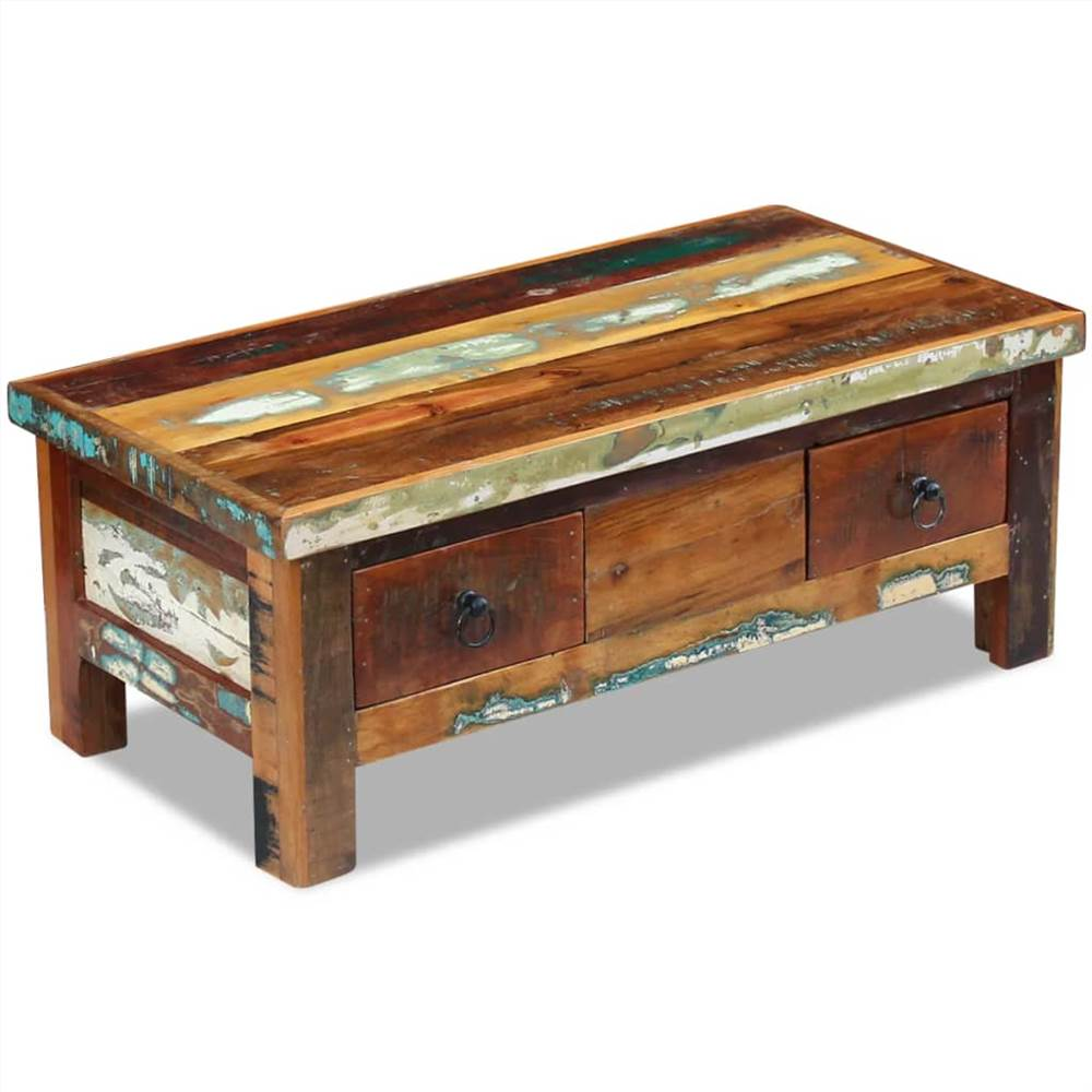 Coffee Table Drawers Solid Reclaimed Wood 90x45x35 cm