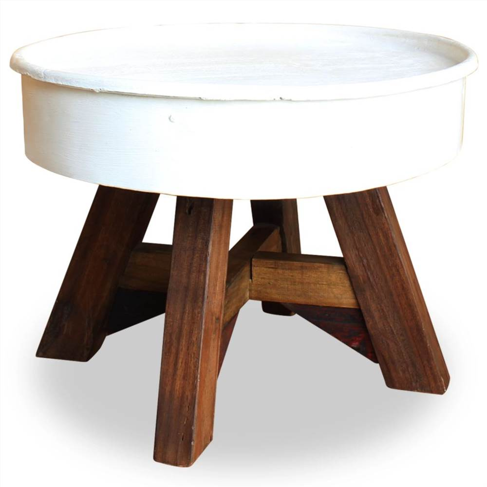 Coffee Table Solid Reclaimed Wood 60x45 cm White