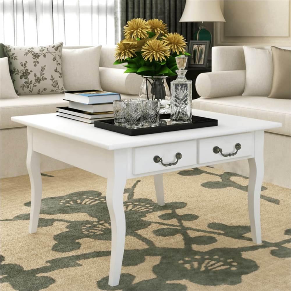Coffee Table with 4 Drawers White