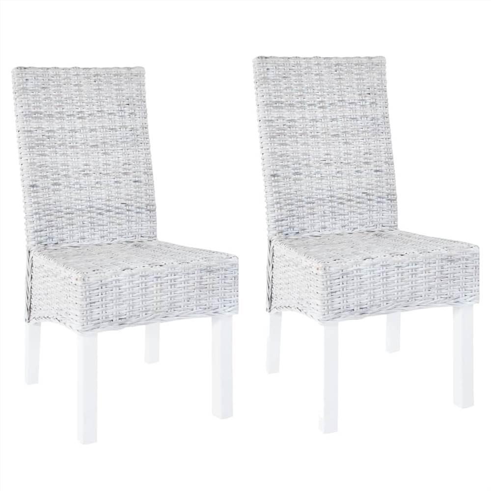 Dining Chairs 2 pcs Grey Kubu Rattan and Mango Wood