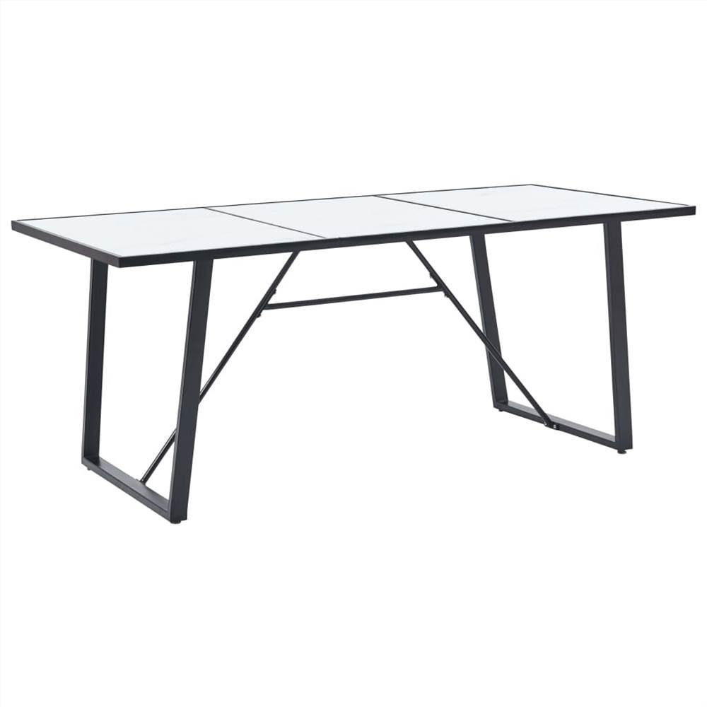 Dining Table White 180x90x75 cm Tempered Glass