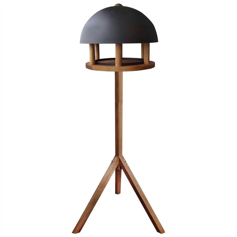 Mesa para pássaros com design Esschert e telhado redondo de aço FB429