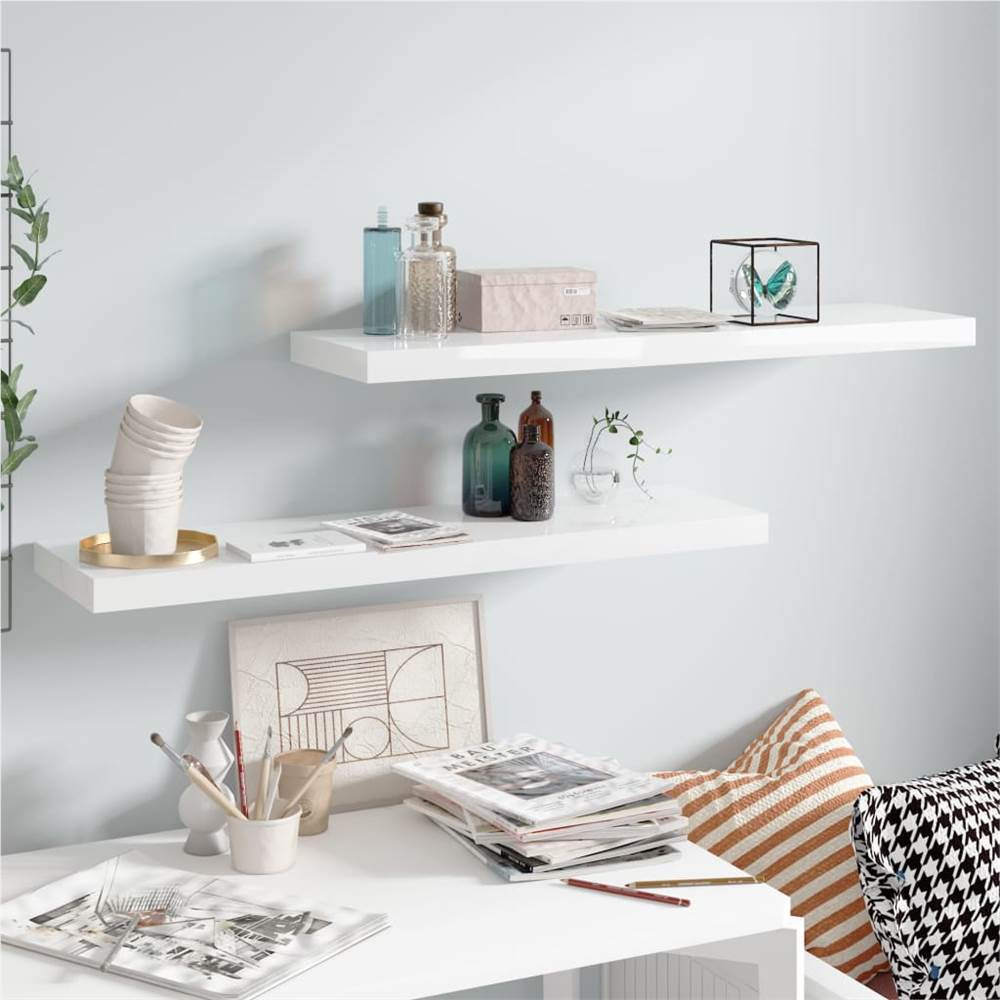 Floating Wall Shelves 2 pcs High Gloss White 90x23.5x3.8 cm MDF