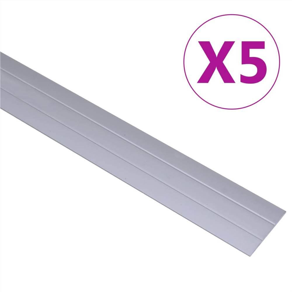 Floor Profiles 5 pcs Aluminium 90 cm Silver