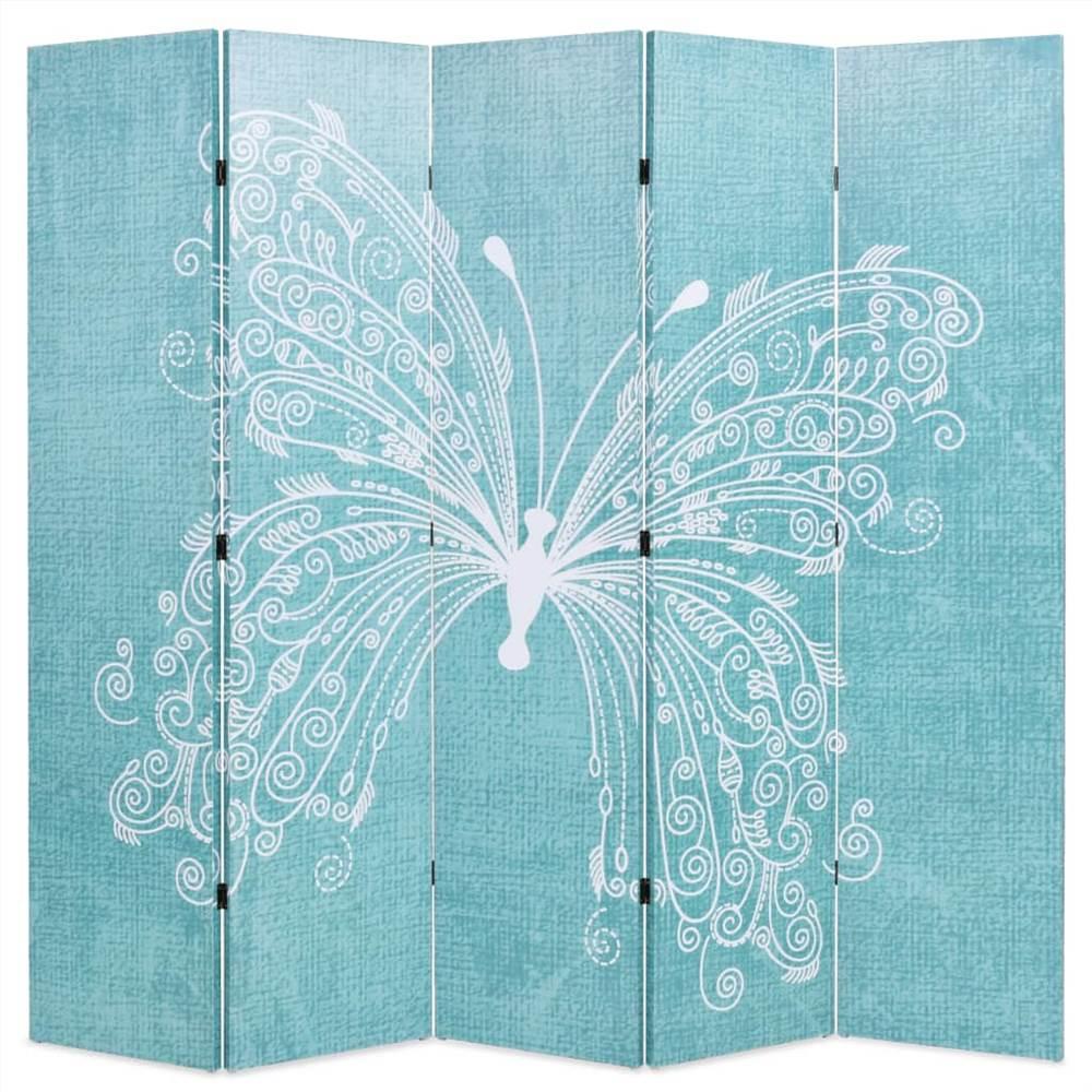Cloison pliante 200x170 cm Butterfly Blue