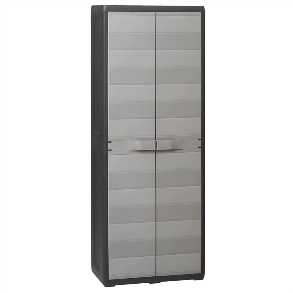 Шкаф для хранения сада с 3 полками, черный и серый