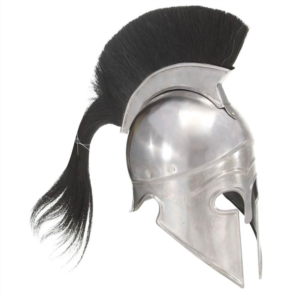 خوذة المحارب اليونانية العتيقة طبق الاصل LARP الفضة الصلب
