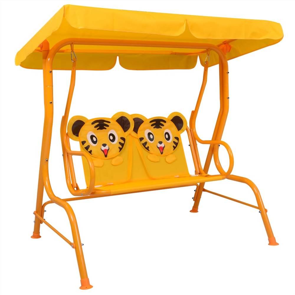 Kids Swing Bench Yellow 115x75x110 cm Fabric