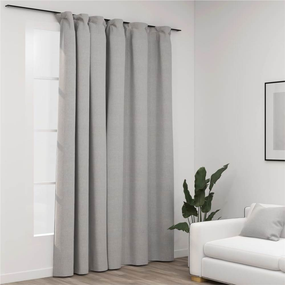 Linen-Look Blackout Curtain with Hooks Grey 290x245 cm