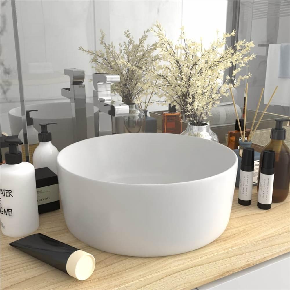 Luxury Wash Basin Round Matt White 40x15 cm Ceramic