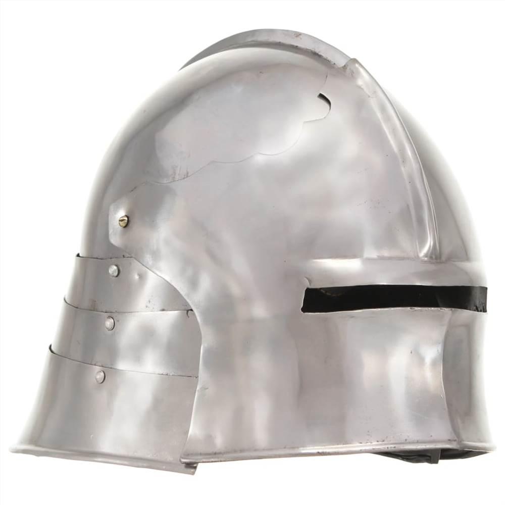 Középkori lovagi sisak antik replika LARP ezüst acél