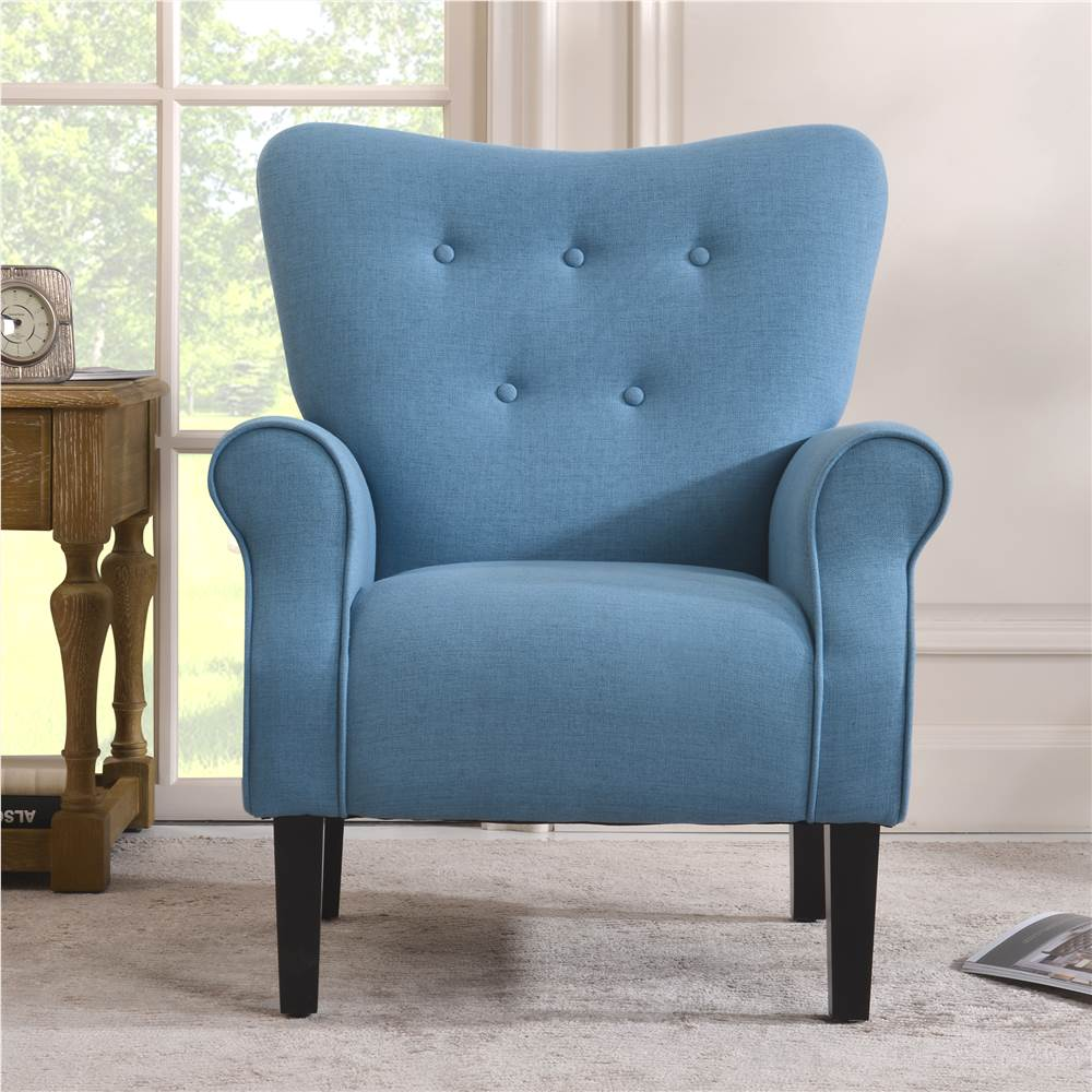 Modern Wing Back Accent Chair Roll Arm Living Room Cushion with Wooden Legs,Blue