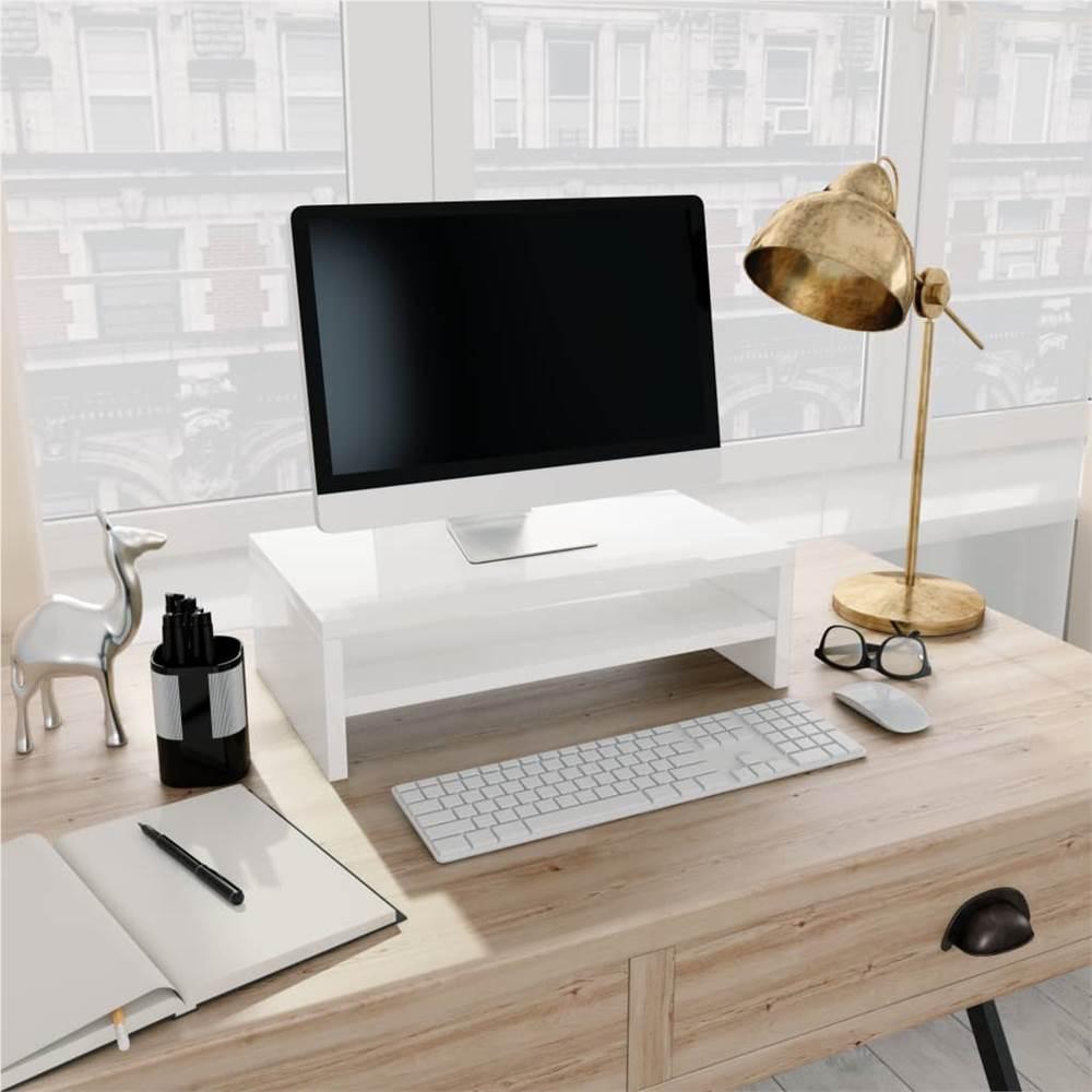 Monitor Stand High Gloss White 42x24x13 cm Chipboard