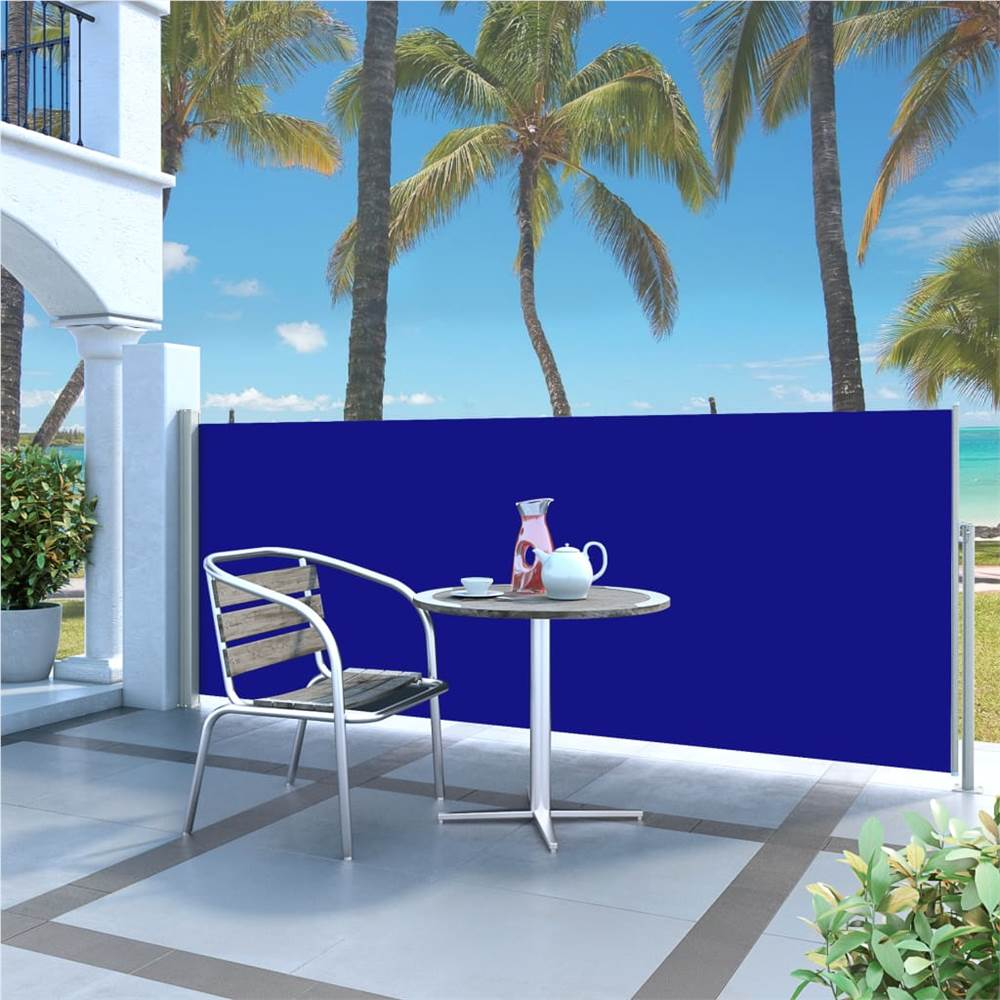 Retractable Side Awning 120 x 300 cm Blue