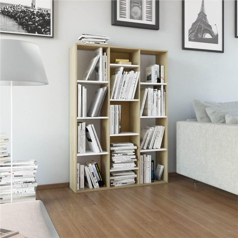 Meuble de séparation / livre blanc et chêne Sonoma 100x24x140 cm aggloméré