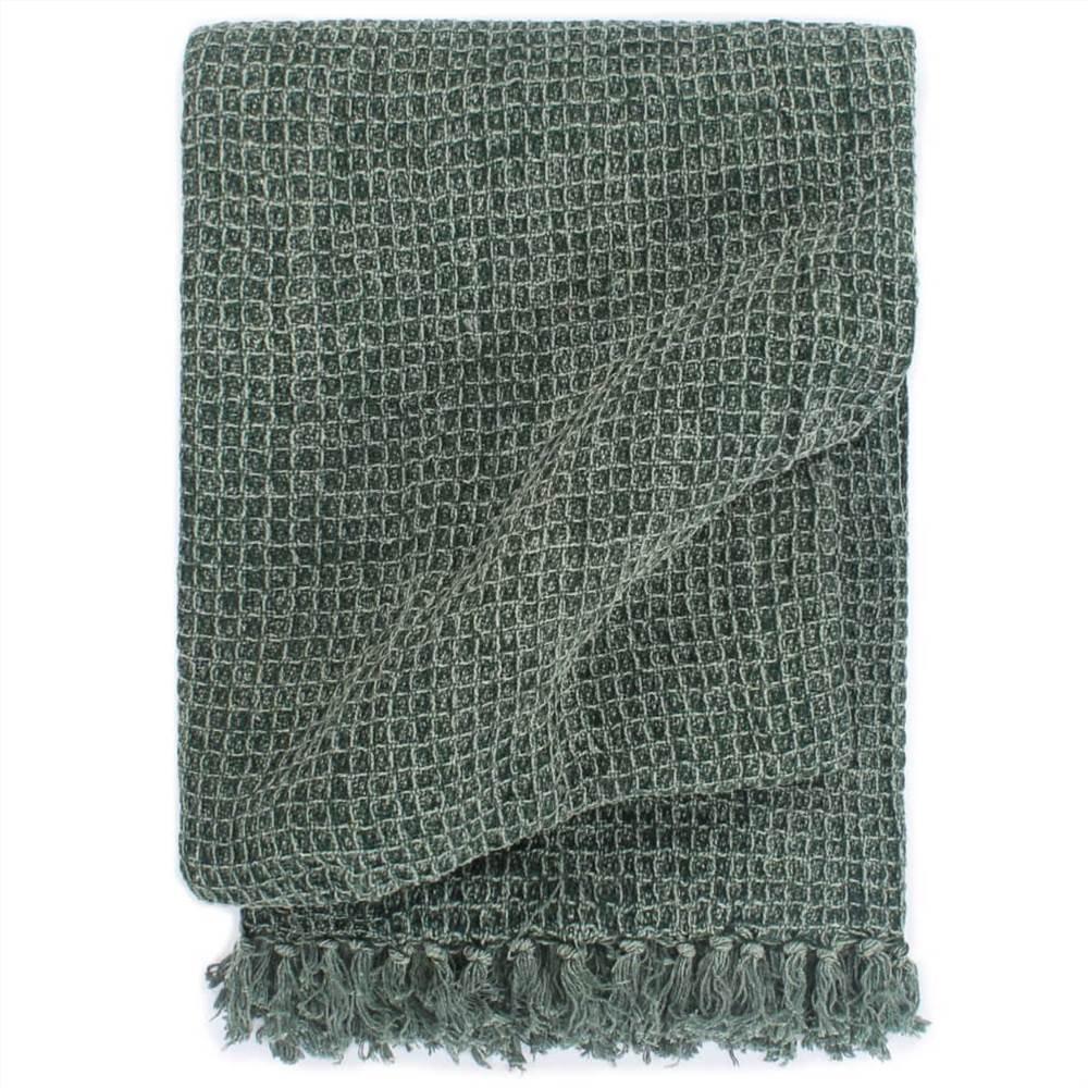 Ρίξτε Βαμβάκι 160x210 cm Σκούρο πράσινο