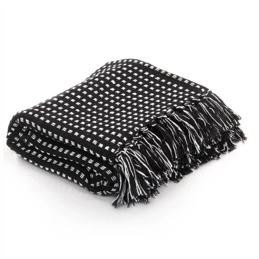 Jeté Carré Coton 160x210 cm Noir