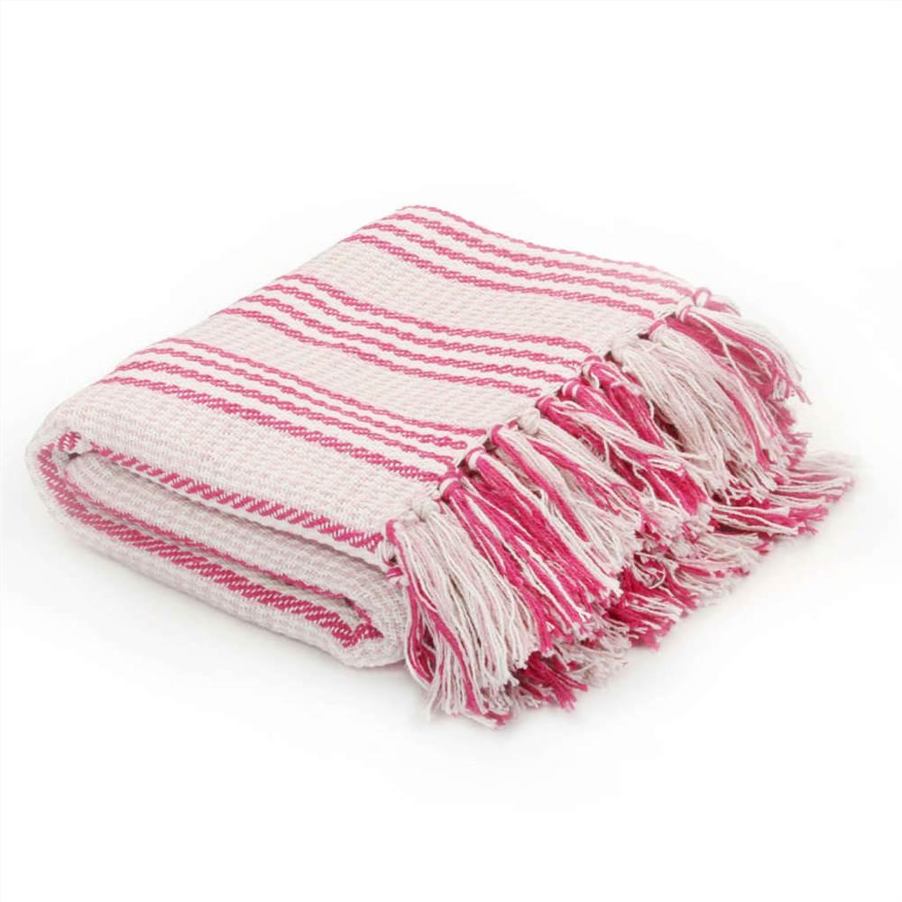 Throw Cotton Stripes 125x150 cm Pink and White