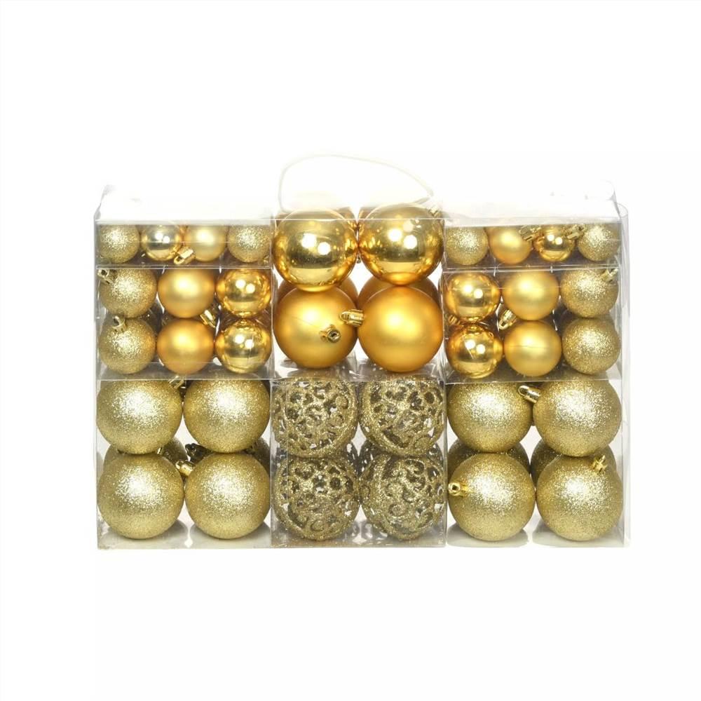 Lot de 100 boules de Noël 6 cm Doré