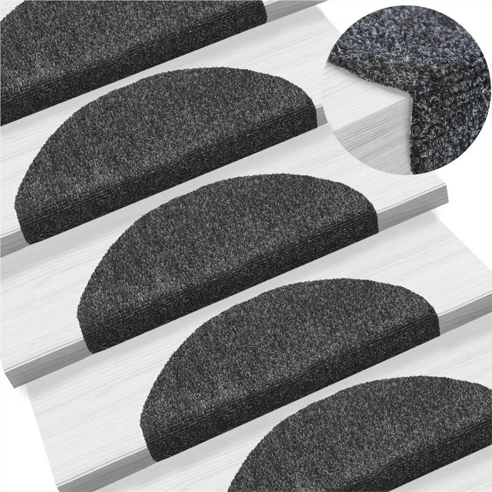 15 Stück Selbstklebende Treppenmatten Nadelstanzer 65x21x4cm Dunkelgrau