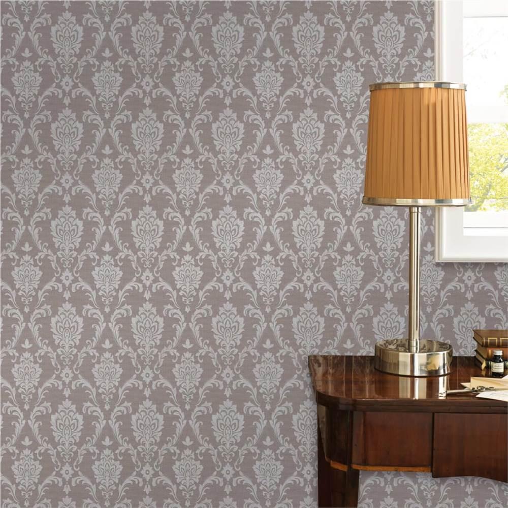 Rolos de papel de parede não tecido 2 peças Taupe 0.53x10 m Ornamento Ocupado