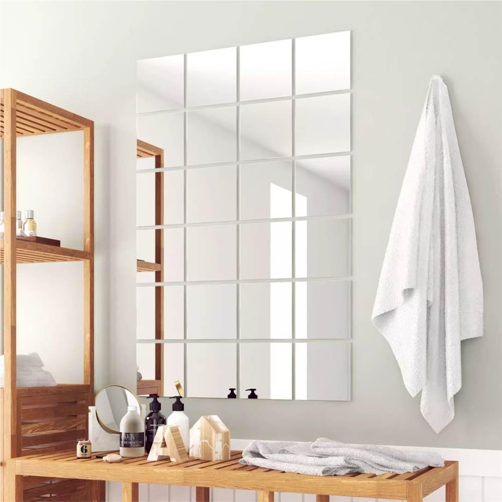 24 pcs Mirror Titles Square Glass