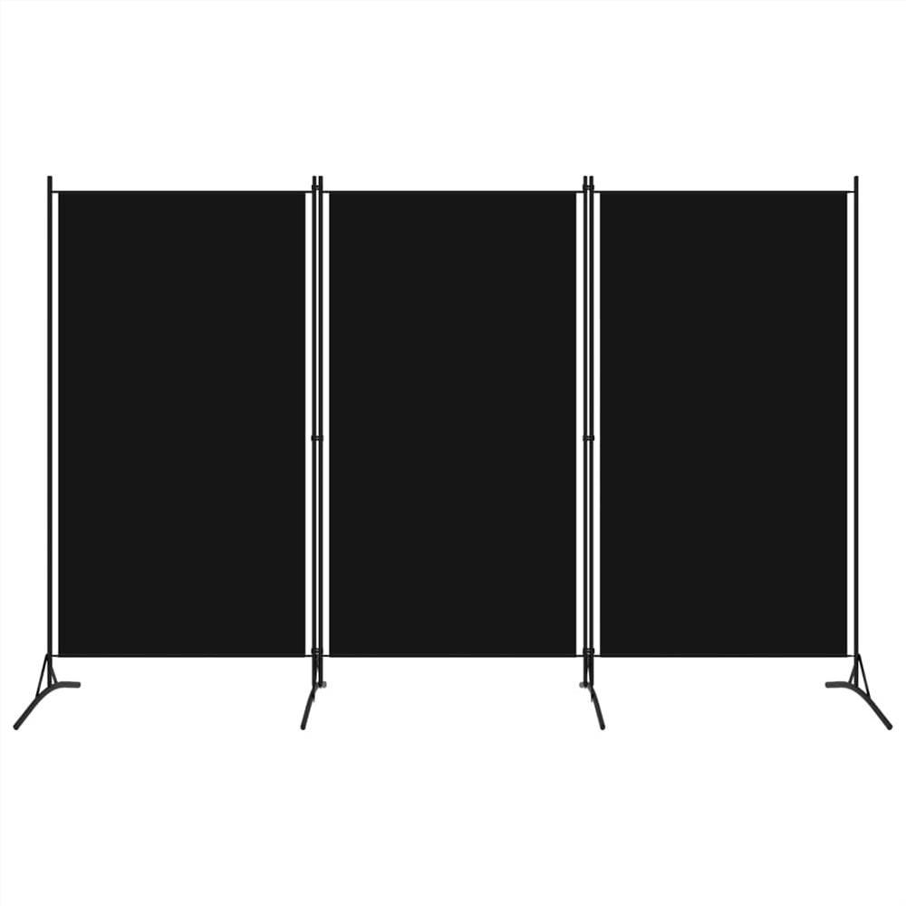Séparateur de pièce à 3 panneaux noir 260x180 cm