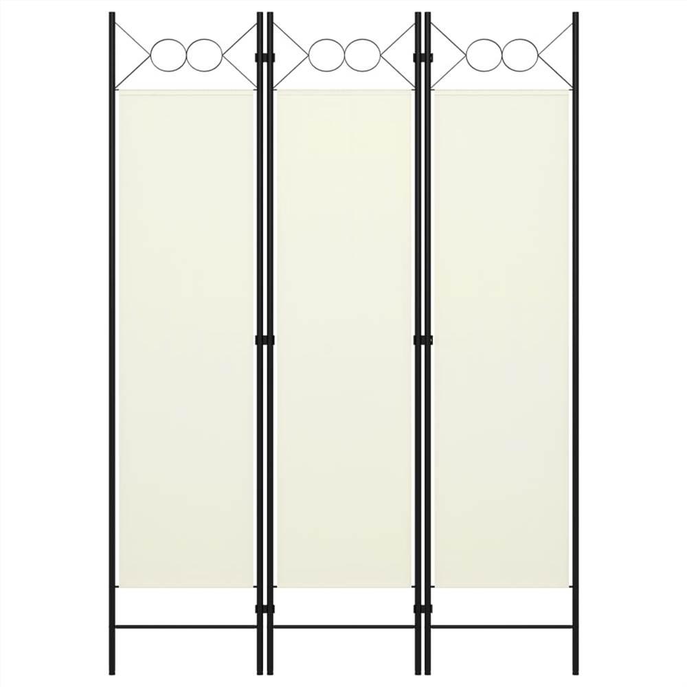 Séparateur de pièce à 3 panneaux blanc crème 120x180 cm