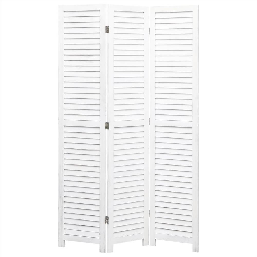Séparateur de pièce à 3 panneaux Blanc 105x165 cm Bois