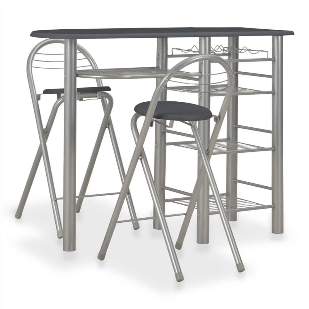 Ensemble de bar 3 pièces avec étagères en bois et acier noir