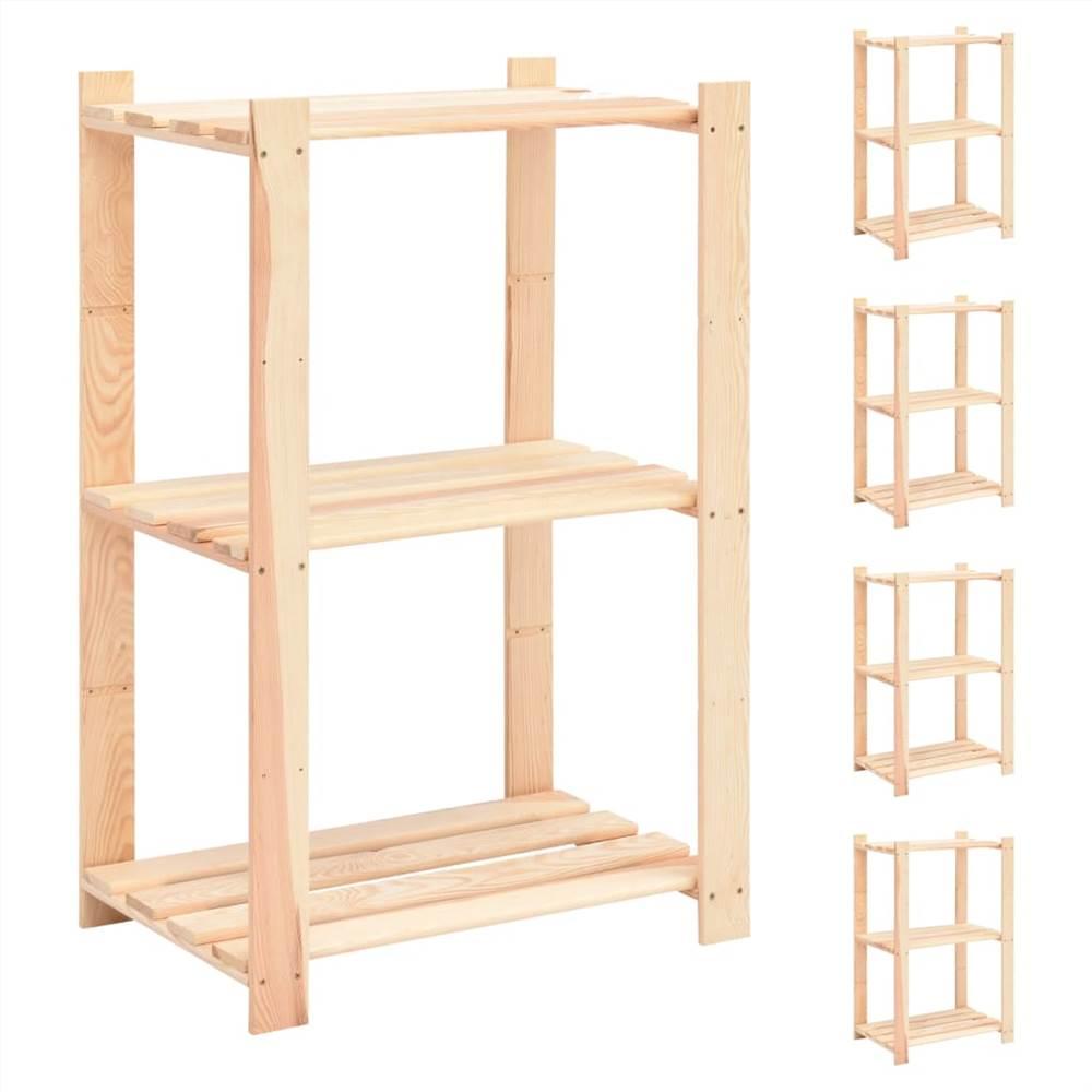 Racks de stockage à 3 niveaux 5 pcs 60x38x90 cm Pin massif 150 kg