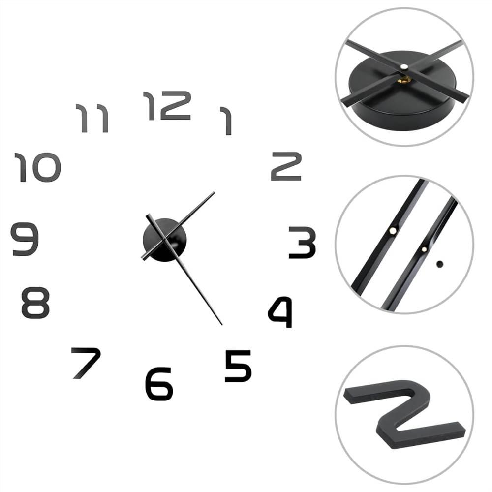 3D Wall Clock Modern Design 100 cm XXL Black