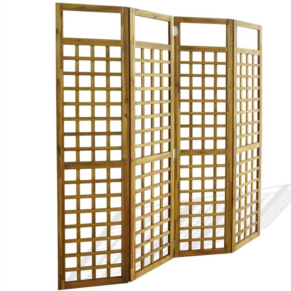 Cloison / treillis à 4 panneaux en bois d'acacia massif 160x170 cm