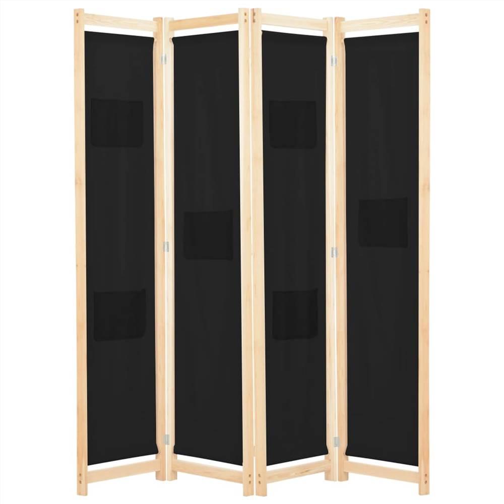 4-Panel Raumteiler Schwarz 160x170x4 cm Stoff